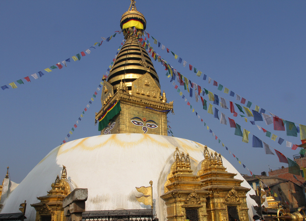 Swayambhunath Temple with blue sky, Kathmandu Nepal