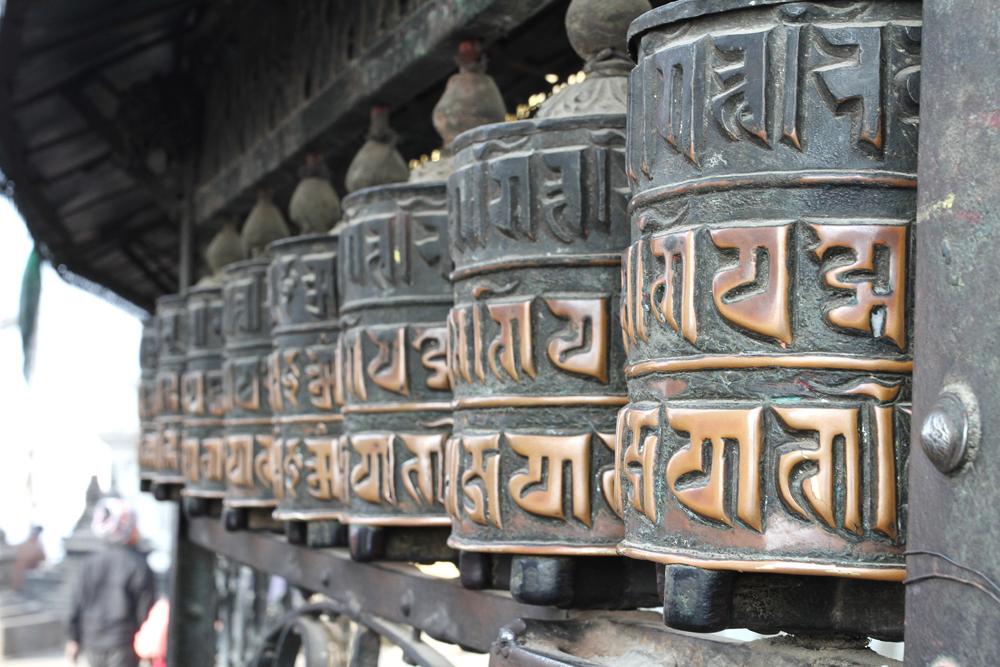 Prayer Wheels Swayambhunath Temple in Kathmandu, Nepal