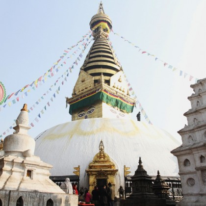 Swayambhunath Temple (Monkey Temple) with blue sky