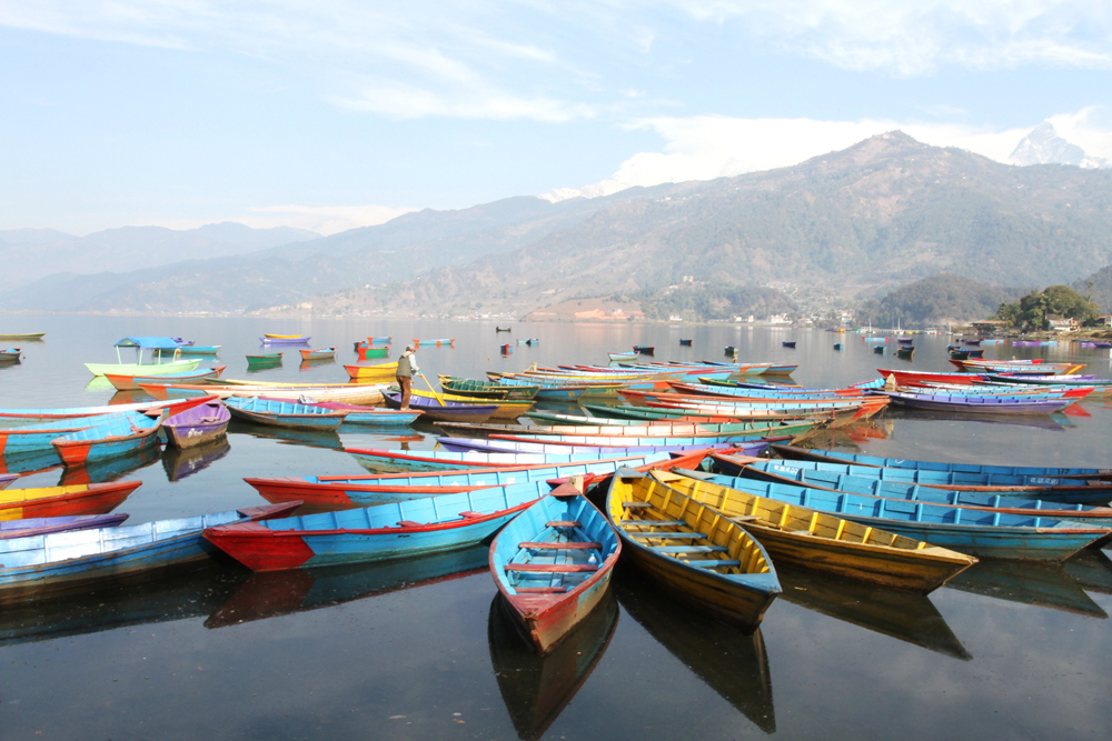 The boats in Phewa lake, Nepal