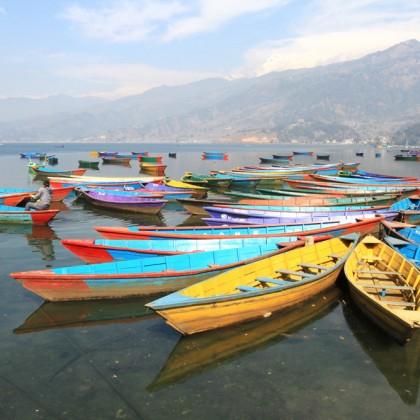 The boats in Phewa lake, Nepal