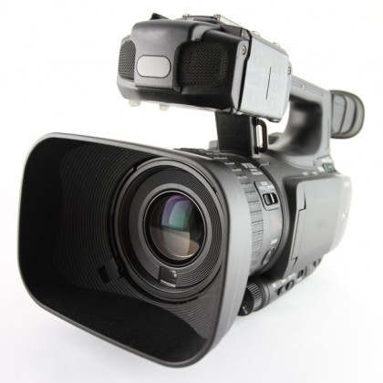 professional high definition camcorder in close up