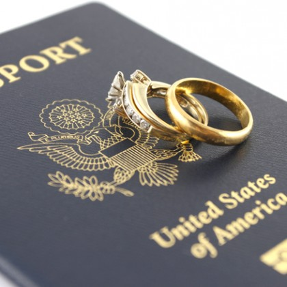 Gold rings of a newly-married couple and the passport.