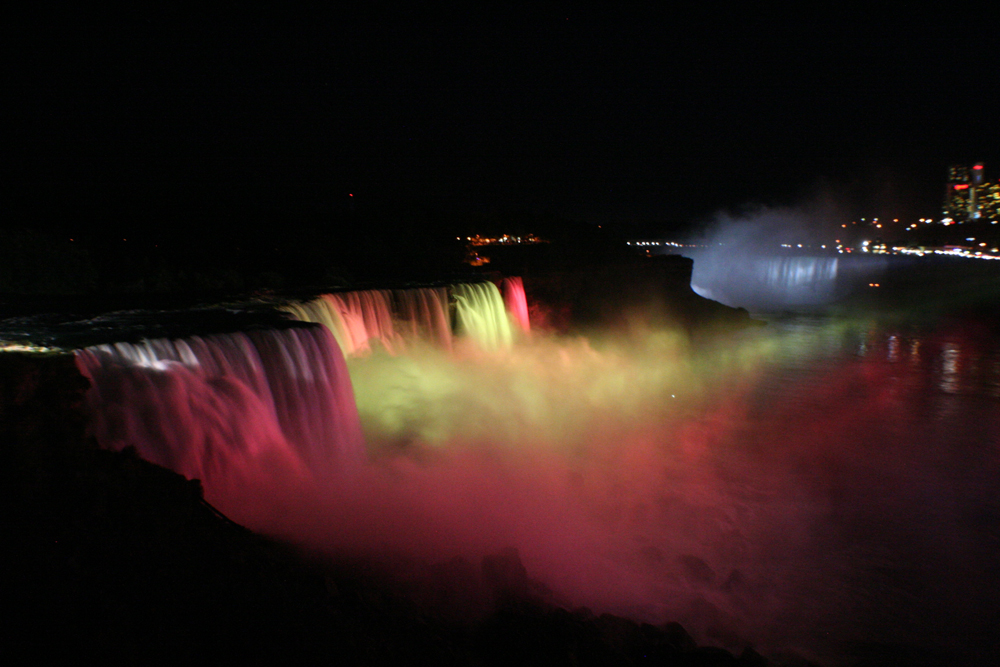 Colorful Niagra Fall at Night