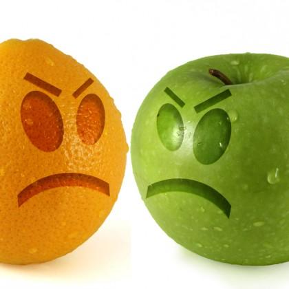 sad apple and orange