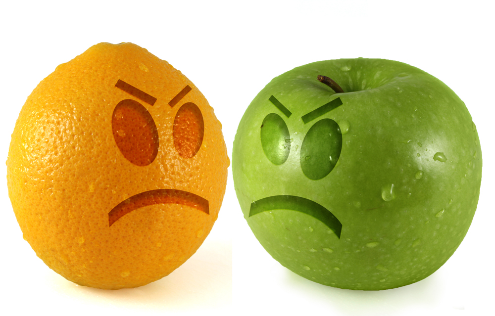 sad apple and orange