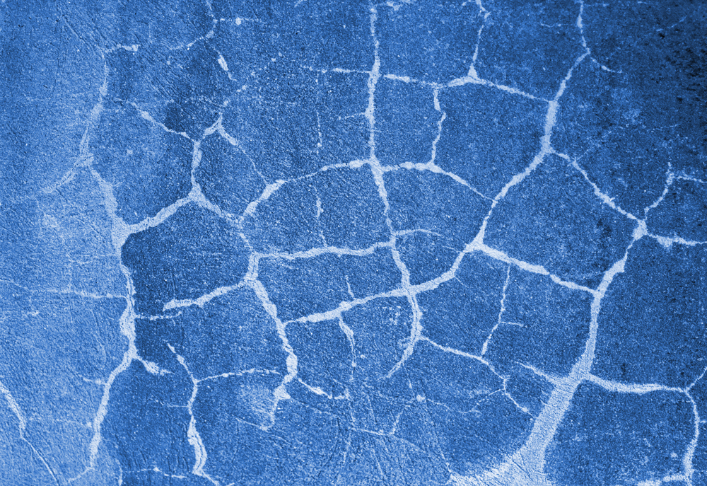 Blue Cement Cracked Wall