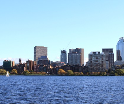 Boston's Back Bay skyline and Charles River in the afternoon
