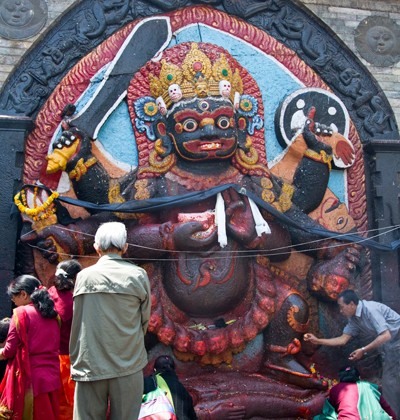 Statue of hindu deity Shiva in the form of fearful Bhairab on Durbar Square in Kathmandu, Nepal