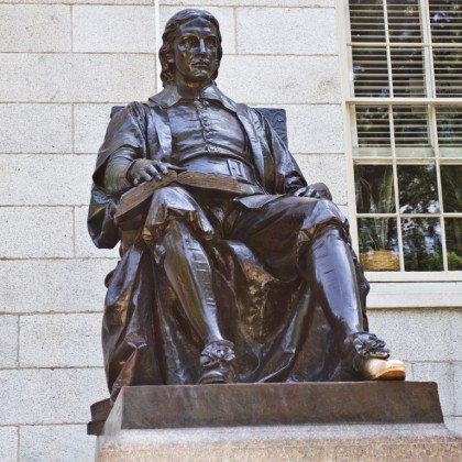 John Harvard statue in Harvard University in Cambridge, Massachusetts, USA