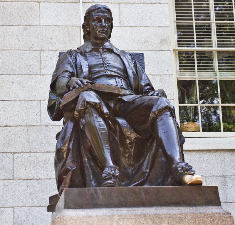 John Harvard statue in Harvard University in Cambridge, Massachusetts, USA