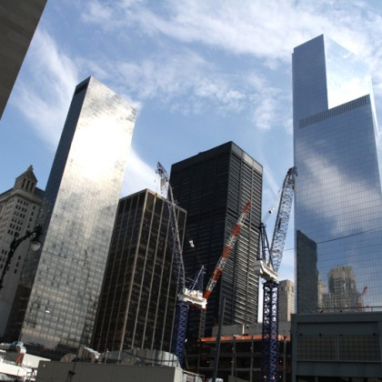 One World Trade Center seen under construction