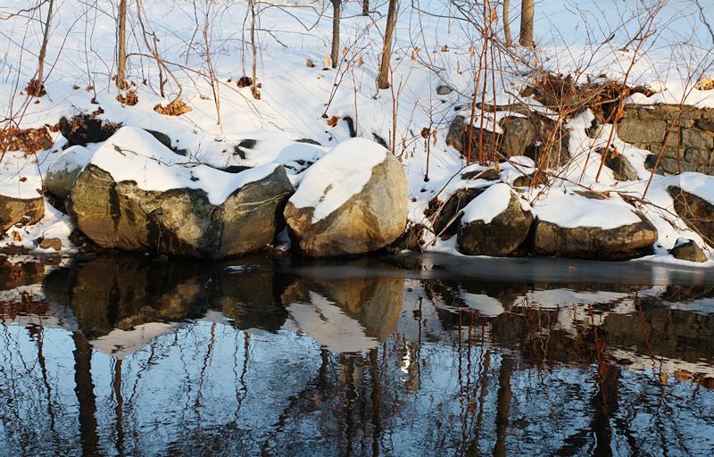 snowfall, river, and water reflection
