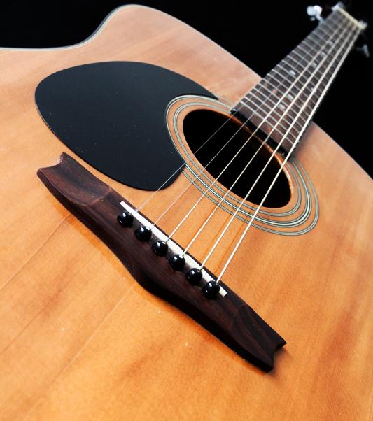 Acoustic guitar, focus on strings