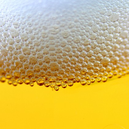 Droplets on freshly poured beer