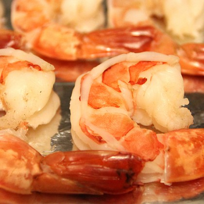 cooked unshelled tiger shrimps