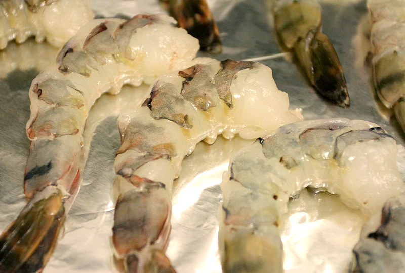 raw unshelled tiger shrimps