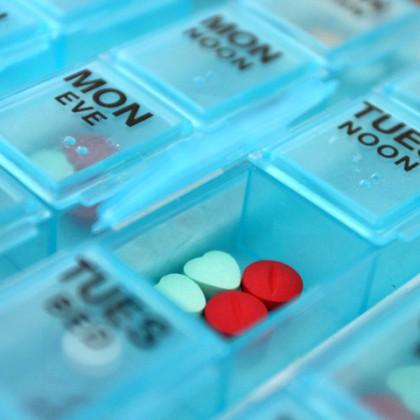 Daily pill box with medications
