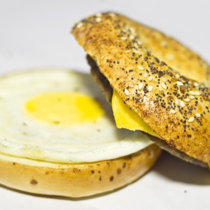 Sausage, Egg and Cheese Breakfast Bagel  Sandwich