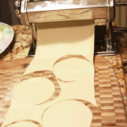 Cutting dough with cutter